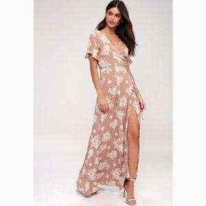 Lulu's Mauve Floral Maxi Dress